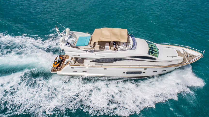 "unique and private experience, for you and your guests to embark on this journey and enjoy a three-day getaway to the Bimini islands on board the 84"" Joyce."
