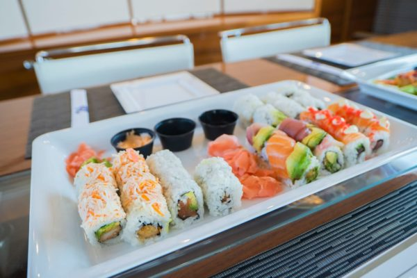 Sushi on a yacht